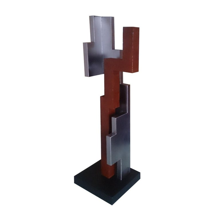 Verdad 06 - contemporary modern abstract geometric steel sculpture - Contemporary Sculpture by Eduardo Lacoma