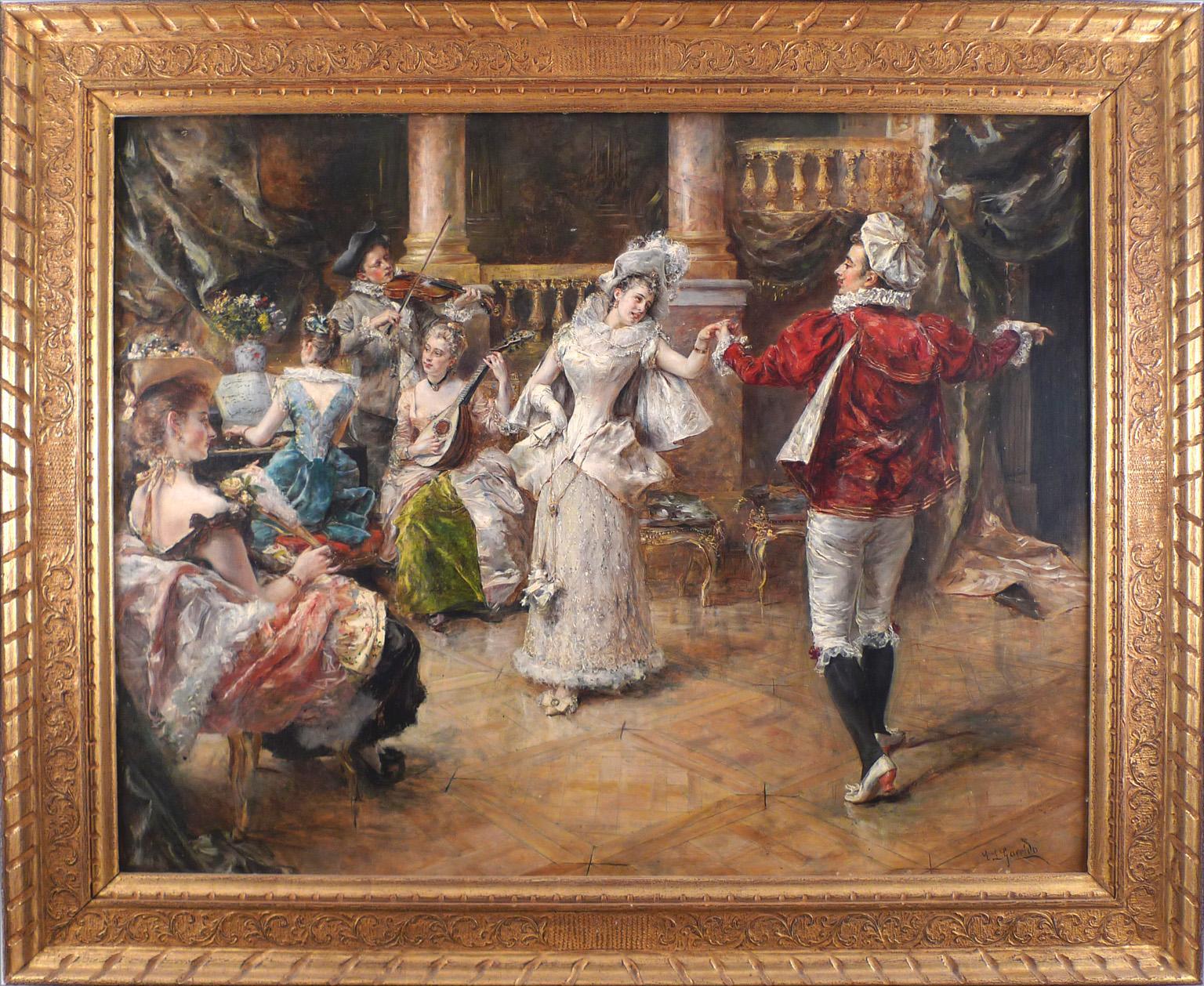 "Eduardo León Garrido, ""An Elegant Dance"", 19th C. Oil on Mahogany Wood Panel"