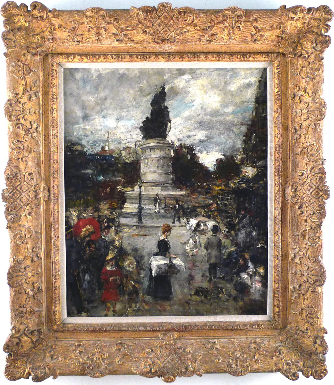 """Place Clichy"" 20th Century Impressionist Oil on Canvas by  Eduardo León Garrido"