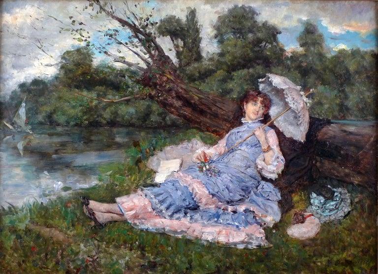 "Eduardo Leon Garrido Landscape Painting - ""Resting by The River"", An Elegant 20th Century Oil on Panel by E. León Garrido"