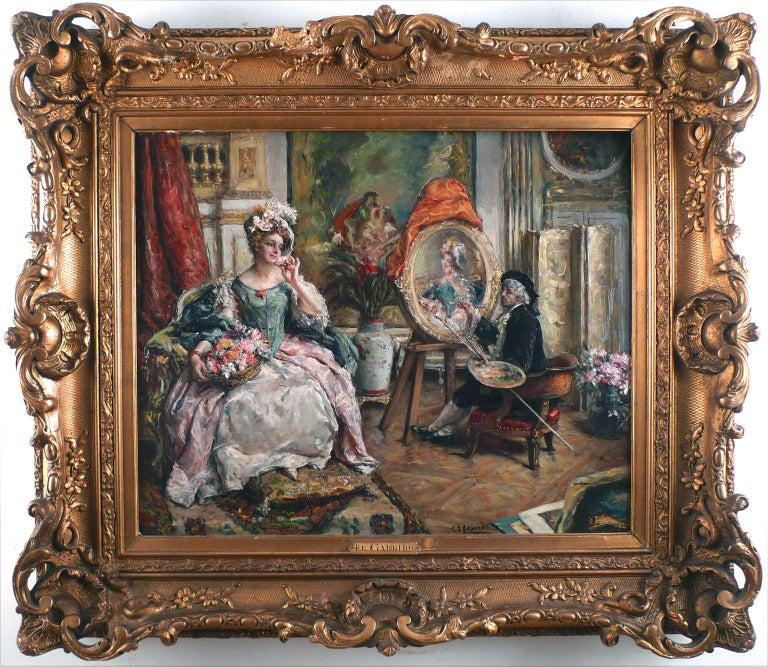 "Eduardo Leon Garrido Interior Painting - ""The Painter and his Model"", 19th C. Oil on Mahogany Wood Panel by E. L. Garrido"