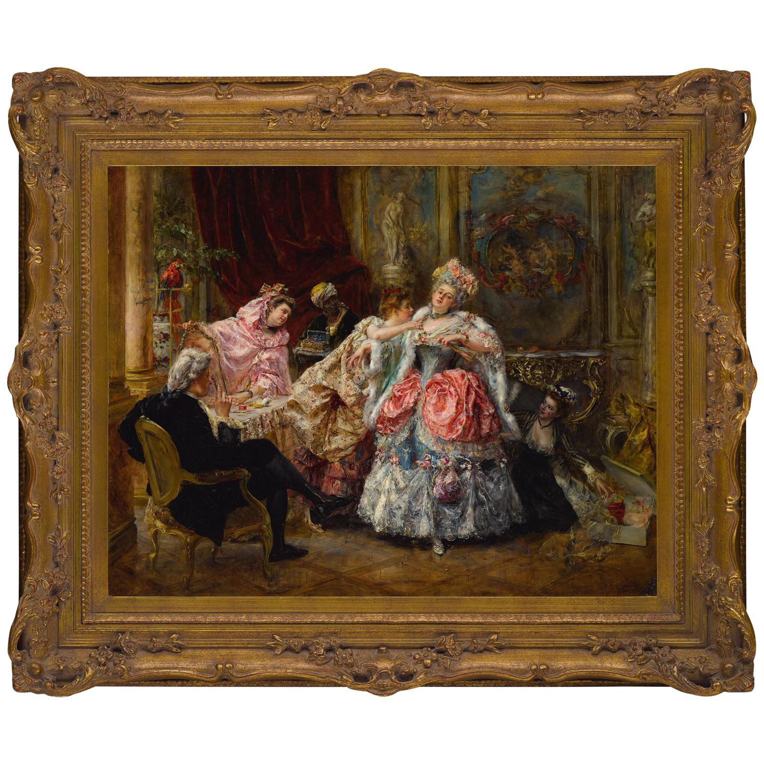 """Eduardo León Garrido (Spanish, 1856-1949) Oil on Panel """"Dressing for the Ball"""""""
