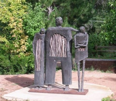 Jealousy, bronze twigs edition sculpture of man with two women, Eduardo Oropeza