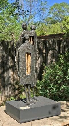 Las Tres Cabesas, Eduardo Oropeza bronze sculpture  brown Three heads Four legs