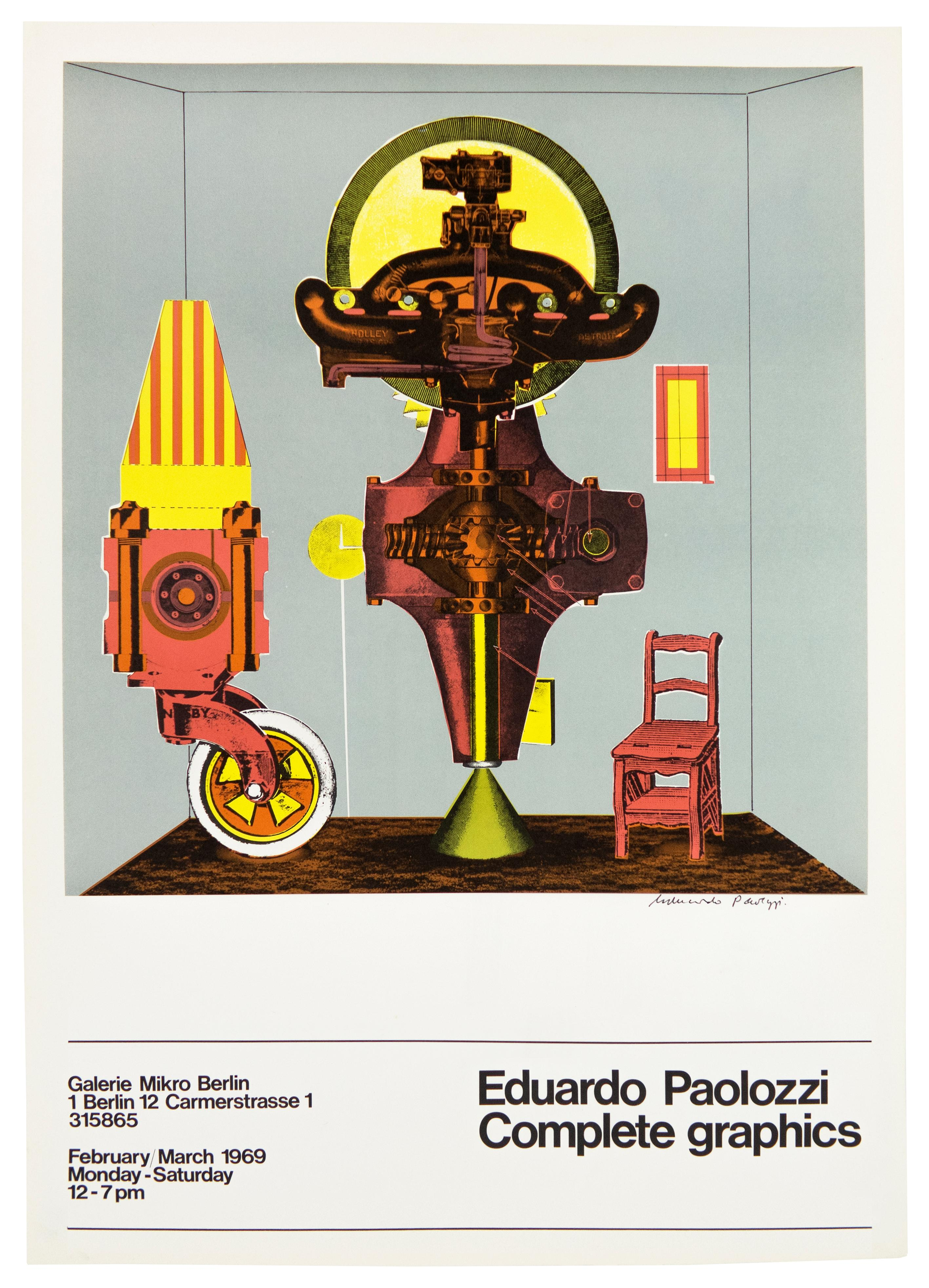 Paolozzi SIGNED 1969 poster Galerie Mikro vintage futuristic psychedelic pop art