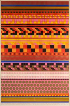 Theory of Relativity, Eduardo Paolozzi, geometric pop art in sunset gold and red