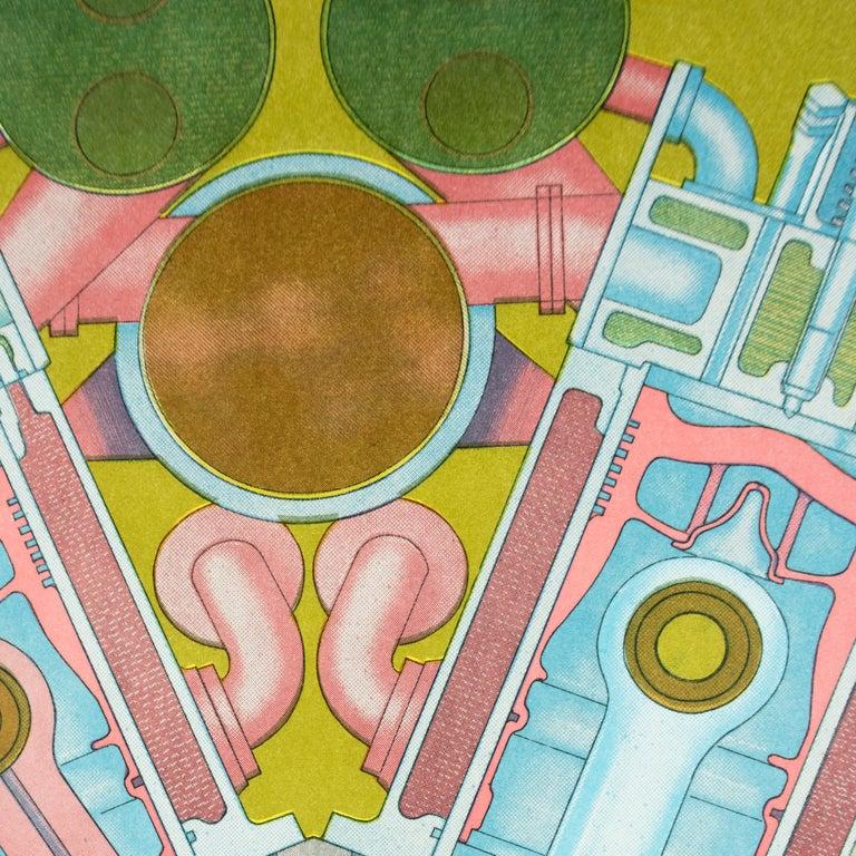 Vintage SIGNED 1969  Eduardo Paolozzi Poster avocado green psychedelic pop art - Green Print by Eduardo Paolozzi