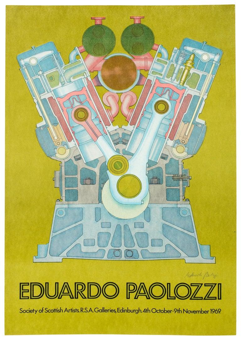 Vintage SIGNED 1969  Eduardo Paolozzi Poster avocado green psychedelic pop art - Print by Eduardo Paolozzi