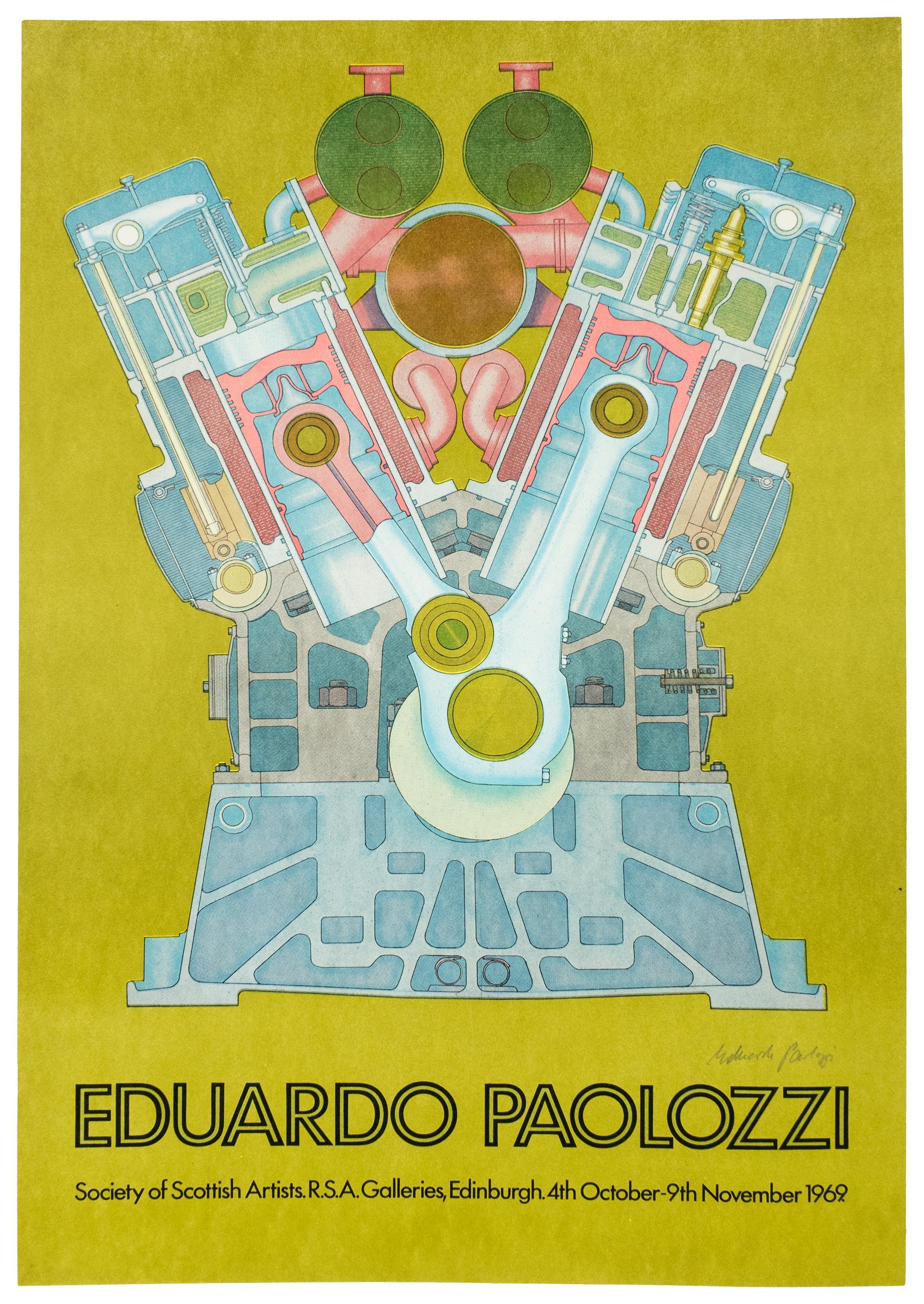 Vintage SIGNED 1969  Eduardo Paolozzi Poster avocado green psychedelic pop art