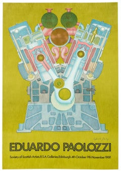 Vintage SIGNED 1969  Eduardo Paolozzi Poster avocado green psychedelic pop art