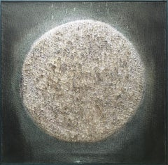 """Terra Lux"" - Silver abstract painting"