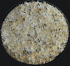 """""""Terralux Silver"""" - silver abstract tondo wall piece"""