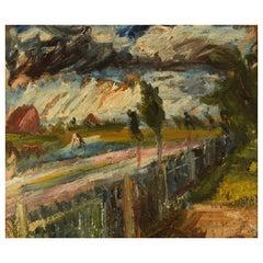 Edvard Borregaard, Denmark, Oil on Canvas, Expressionist Landscape