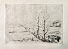 Edvard Munch, Norwegische Landschaft, Norwegian Landscape Drypoint Etching