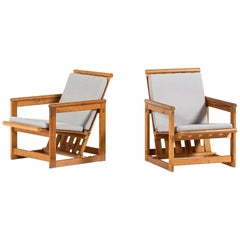 Edvin Helseth Easy Chairs in Pine Produced by Trybo in Norway
