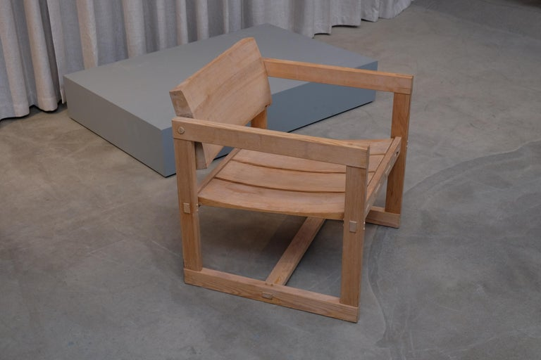 """Model Trybo. Pine with solid """"tilting"""" back.  Designed 1968."""