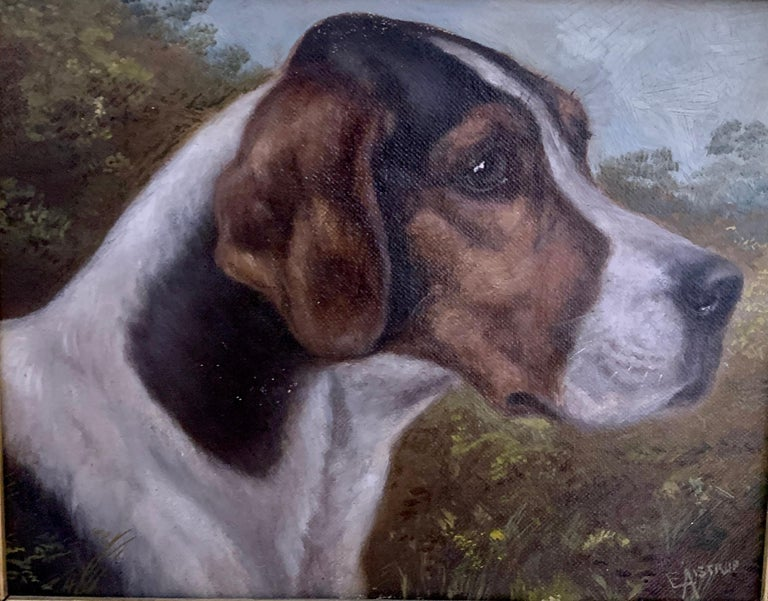 Antique Victorian English oil portrait of a Fox Hound dog in a landscape  - Painting by Edward Aistrop