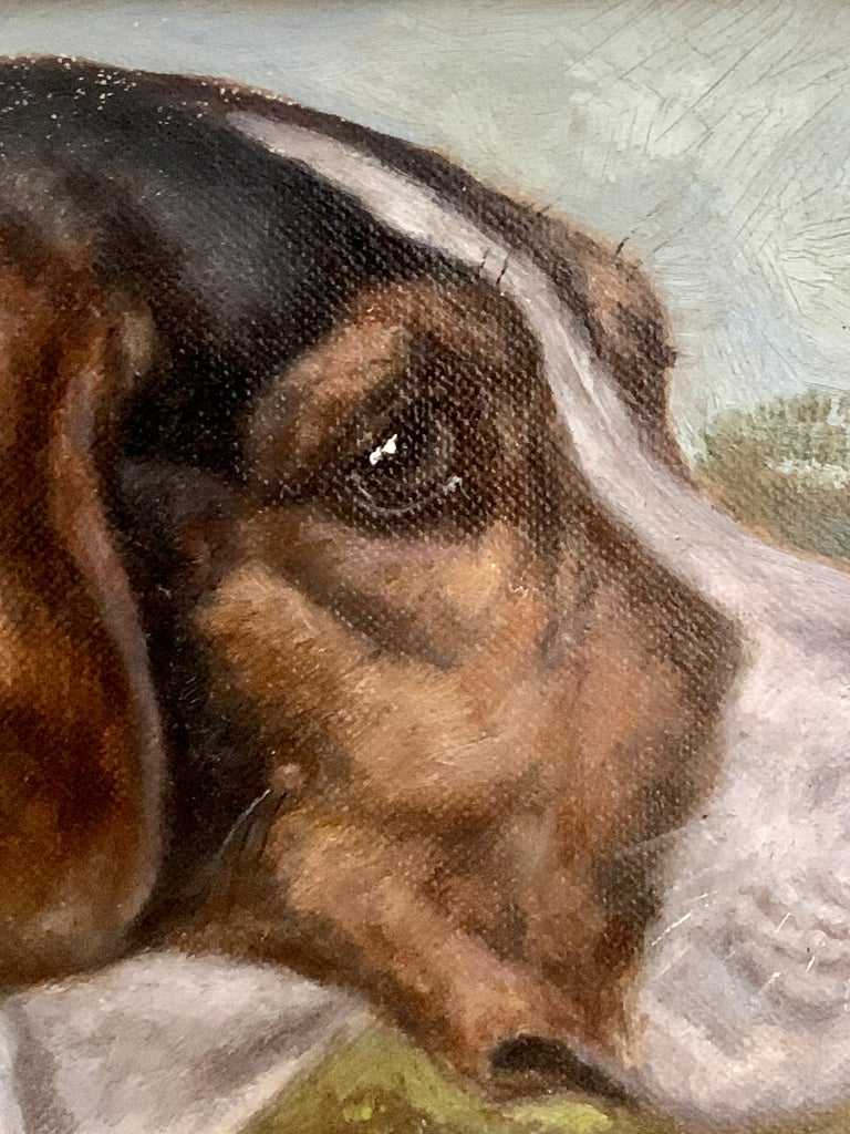 Antique Victorian English oil portrait of a Fox Hound dog in a landscape  - Brown Animal Painting by Edward Aistrop