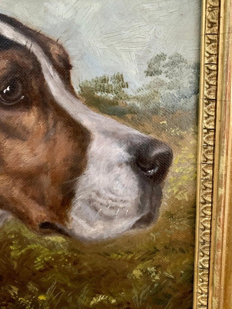 Antique Victorian English oil portrait of a Fox Hound dog in a landscape  2