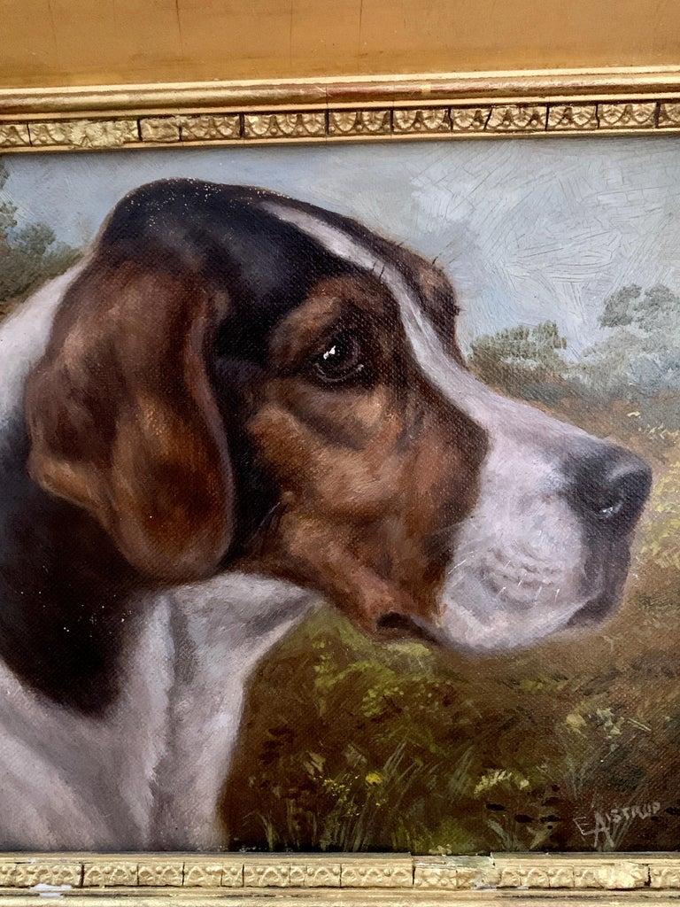Antique Victorian English oil portrait of a Fox Hound dog in a landscape  3