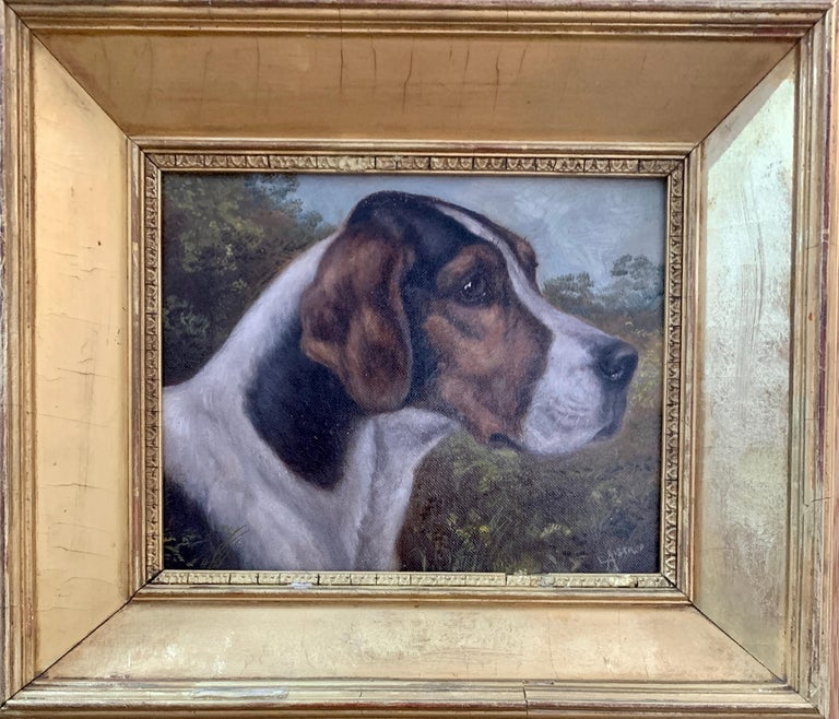 Edward Aistrop Animal Painting - Antique Victorian English oil portrait of a Fox Hound dog in a landscape