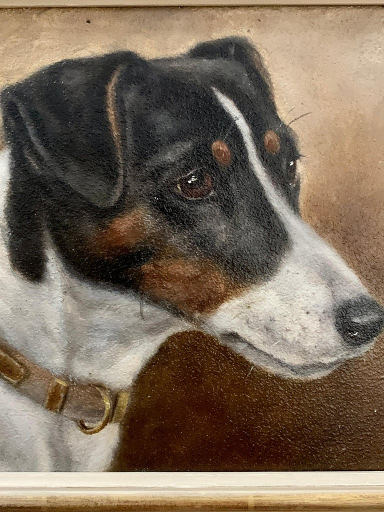 Antique Victorian English oil portrait of a Jack Russell terrier dog - Painting by Edward Aistrop
