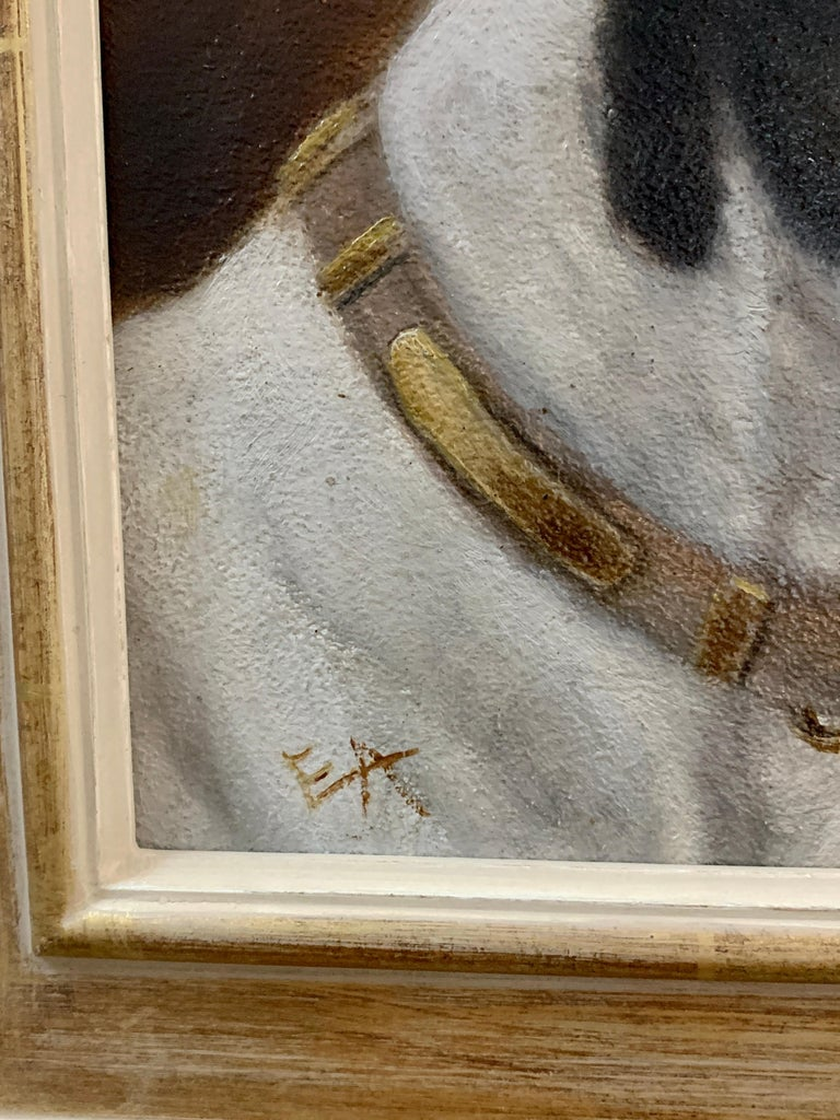 Antique Victorian English oil portrait of a Jack Russell terrier dog - Gray Portrait Painting by Edward Aistrop
