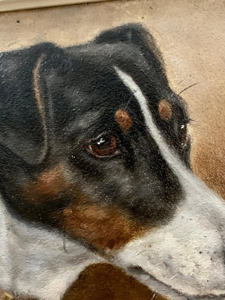 Wonderful head portrait of a Jack Russell Terrier dog.   Edward Aistrop was a painter of dog portraits who worked in the latter part of the 19th century. He was amongst a band of artists who fulfilled the demand of wealthy patrons by providing a