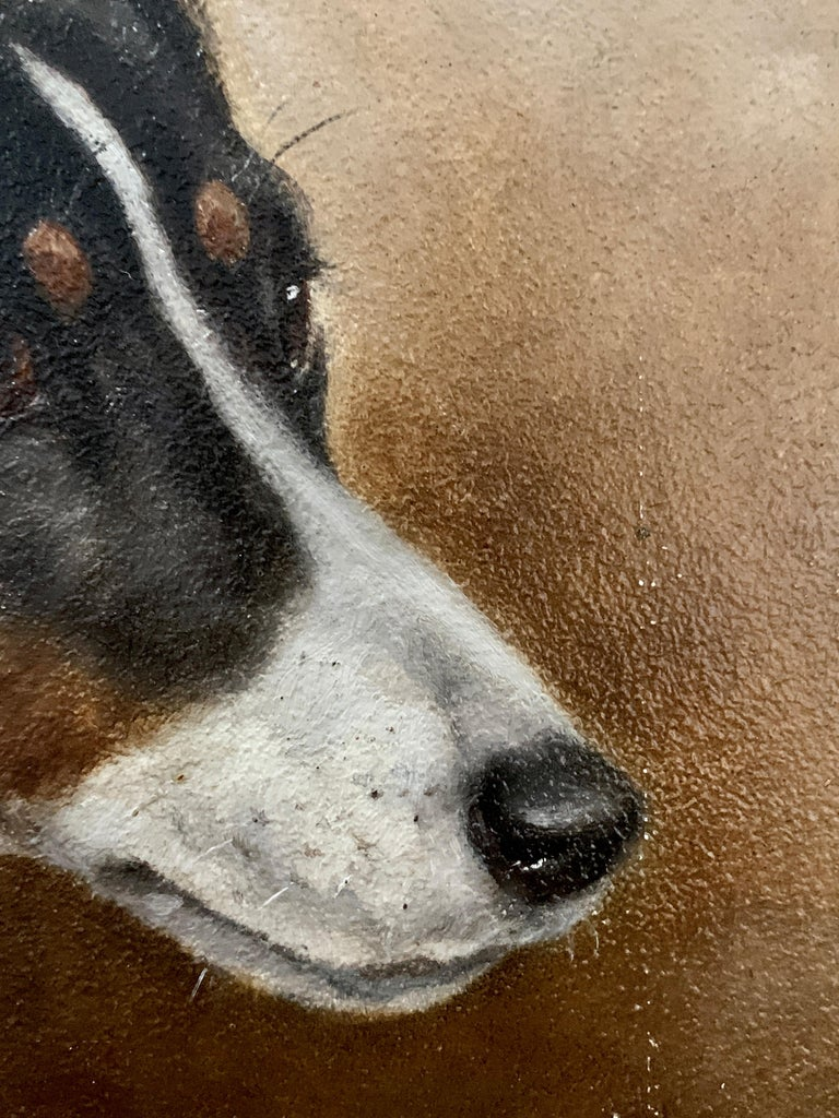 Antique Victorian English oil portrait of a Jack Russell terrier dog 1