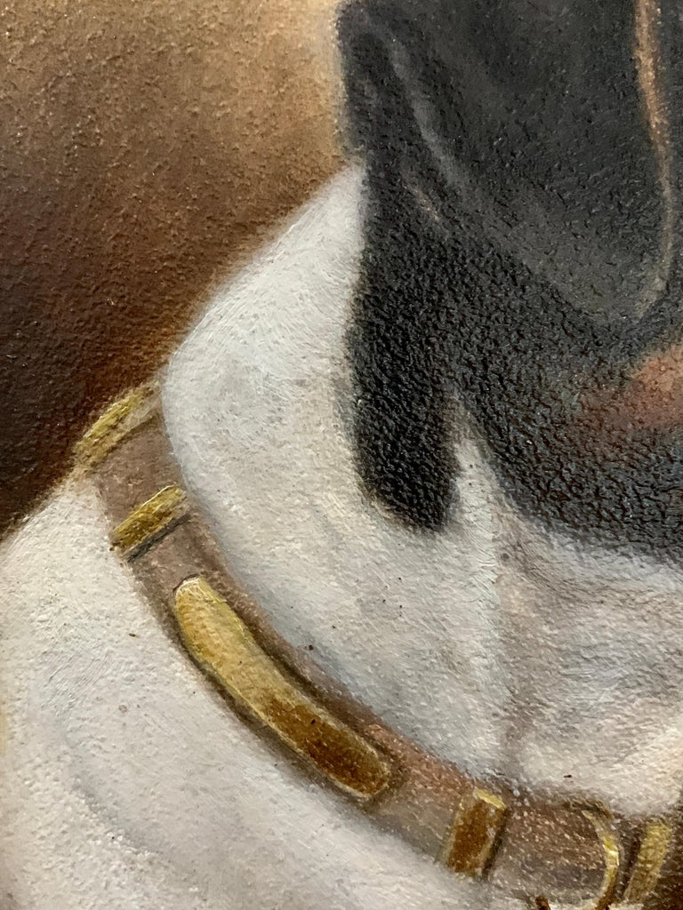 Antique Victorian English oil portrait of a Jack Russell terrier dog 3