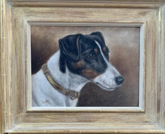 Antique Victorian English oil portrait of a Jack Russell terrier dog