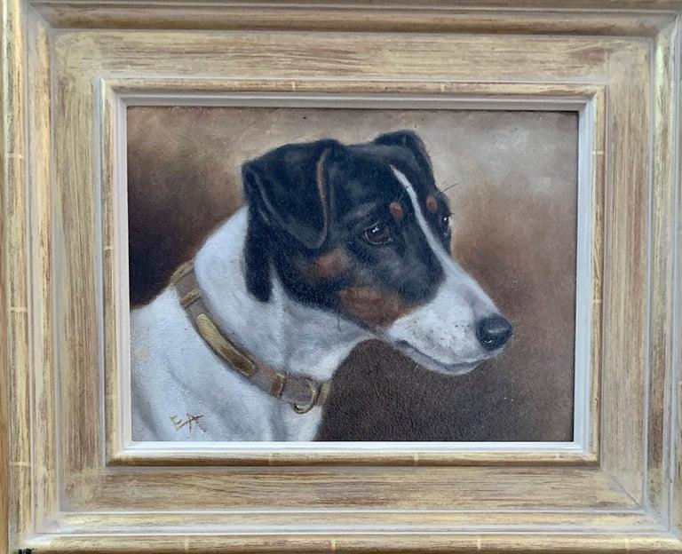 Edward Aistrop Portrait Painting - Antique Victorian English oil portrait of a Jack Russell terrier dog