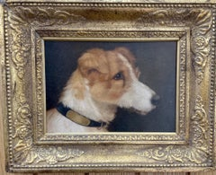 English Victorian 19th century, oil portrait of a Jack Russell terrier dog, pup