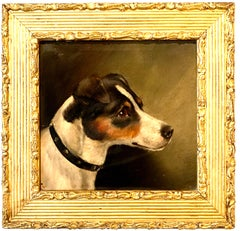 English Victorian portrait of a Jack Russell dog or puppy