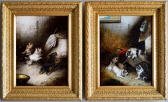 Pair of 19th Century sporting oil painting with terrier dogs