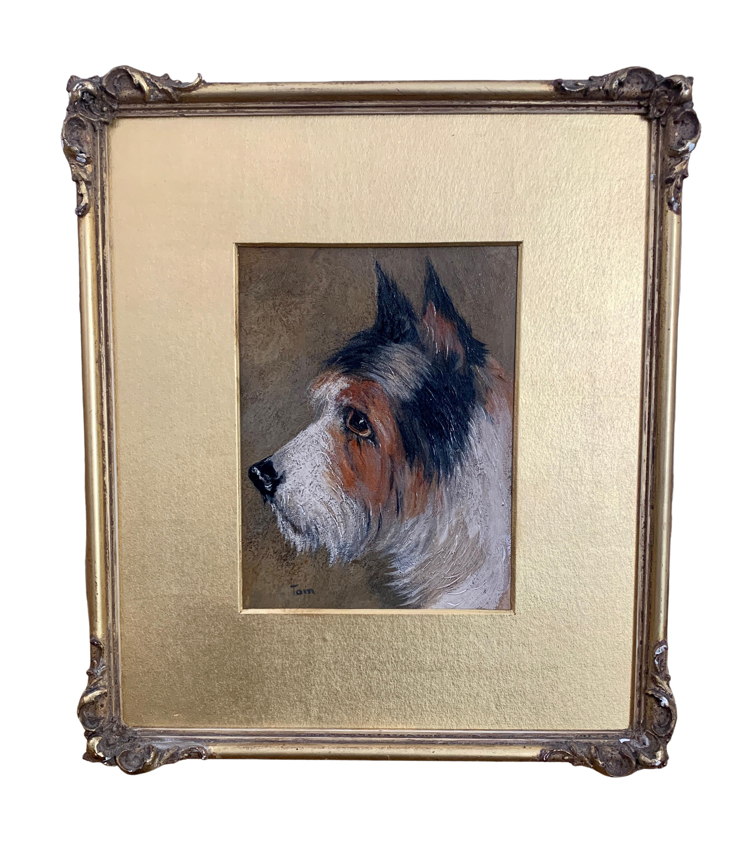 Victorian English portrait of a Terrier dog head