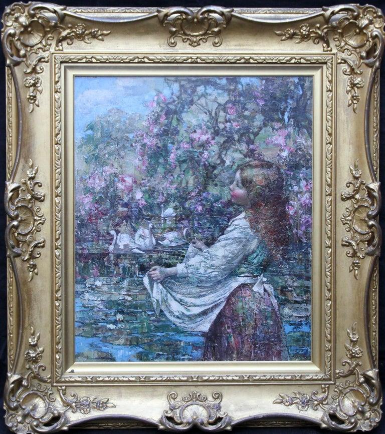 Feeding the Swans - Scottish Impressionist 1911 art 'Glasgow Boy' oil portrait  For Sale 7