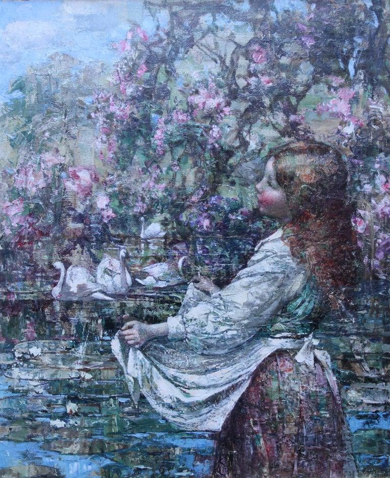 Feeding the Swans - Scottish Impressionist 1911 art 'Glasgow Boy' oil portrait  - Painting by Edward Atkinson Hornel