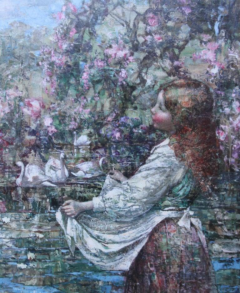 Feeding the Swans - Scottish Impressionist 1911 art 'Glasgow Boy' oil portrait  - Gray Portrait Painting by Edward Atkinson Hornel