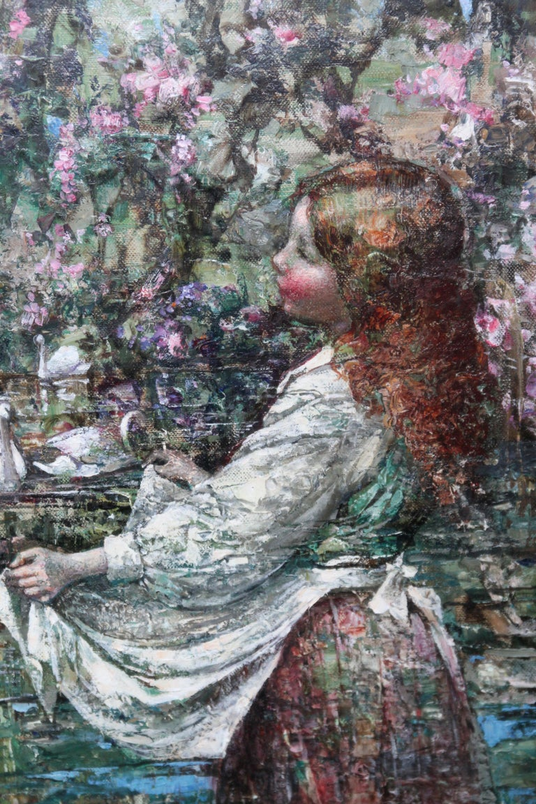 This captivating Scottish Impressionist Edwardian Kirkcudbright School exhibited portrait oil painting is by noted Glasgow Boy artist Edward Atkinson Hornel. Painted in 1911 it was exhibited the following year at the Glasgow Institute of Fine Arts,