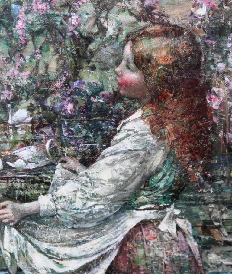 Feeding the Swans - Scottish Impressionist 1911 art 'Glasgow Boy' oil portrait  For Sale 1