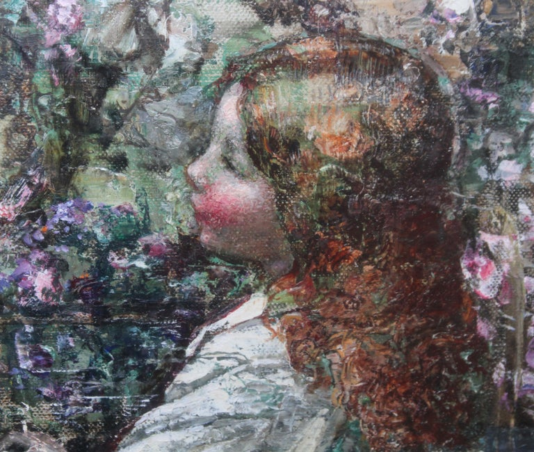 Feeding the Swans - Scottish Impressionist 1911 art 'Glasgow Boy' oil portrait  For Sale 2