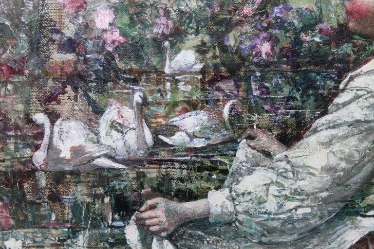 Feeding the Swans - Scottish Impressionist 1911 art 'Glasgow Boy' oil portrait  For Sale 3