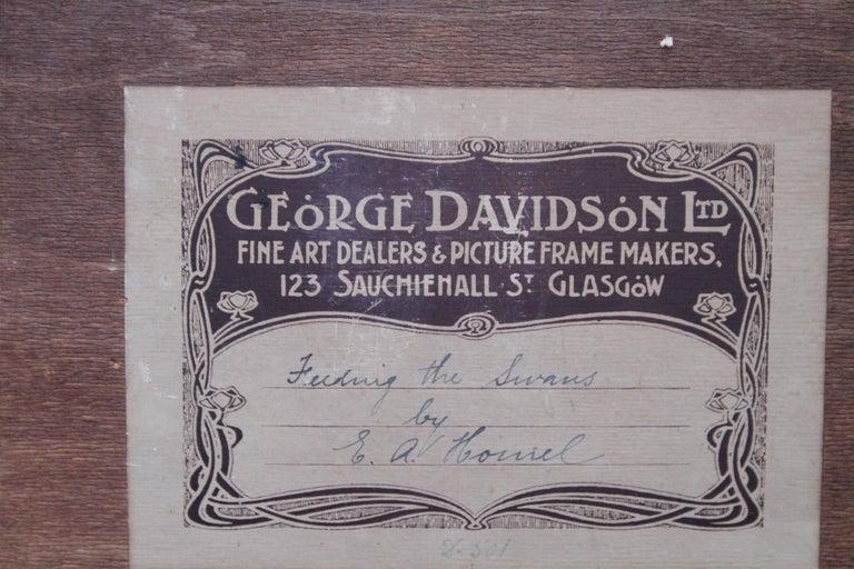 Feeding the Swans - Scottish Impressionist 1911 art 'Glasgow Boy' oil portrait  For Sale 5