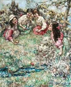 Rolling Easter Eggs - 20th Century Oil, Children Figures in Landscape - E Hornel