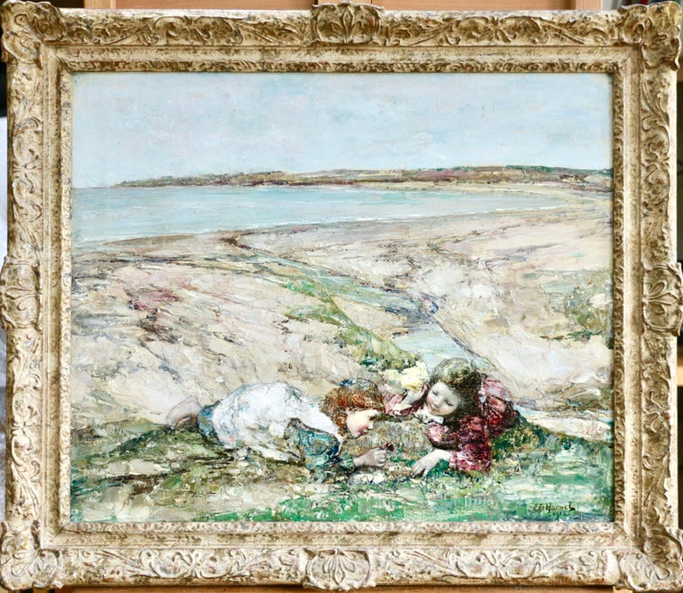 Edward Atkinson Hornel Figurative Painting - Watching the Butterflies - 19th Century Oil, Girls at Coast Landscape by Hornel