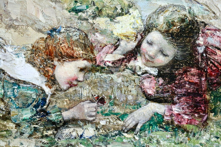 Watching the Butterflies - 19th Century Oil, Girls at Coast Landscape by Hornel - Impressionist Painting by Edward Atkinson Hornel