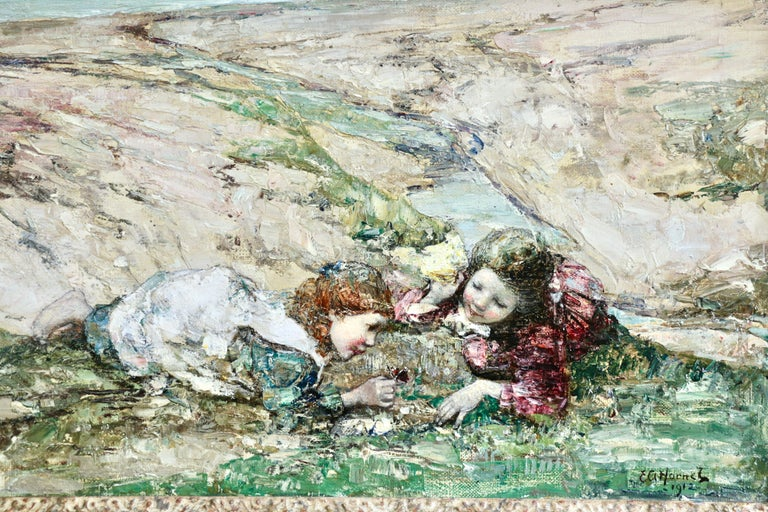 Watching the Butterflies - 19th Century Oil, Girls at Coast Landscape by Hornel - Gray Figurative Painting by Edward Atkinson Hornel