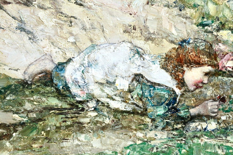 A beautiful example by Hornel depicting two young girls looking at butterflies at Brighouse Bay. Oil on original canvas, signed and dated lower right. In fine original condition. Framed dimensions are 25.5 inches high by 29.5 inches wide.  Edward