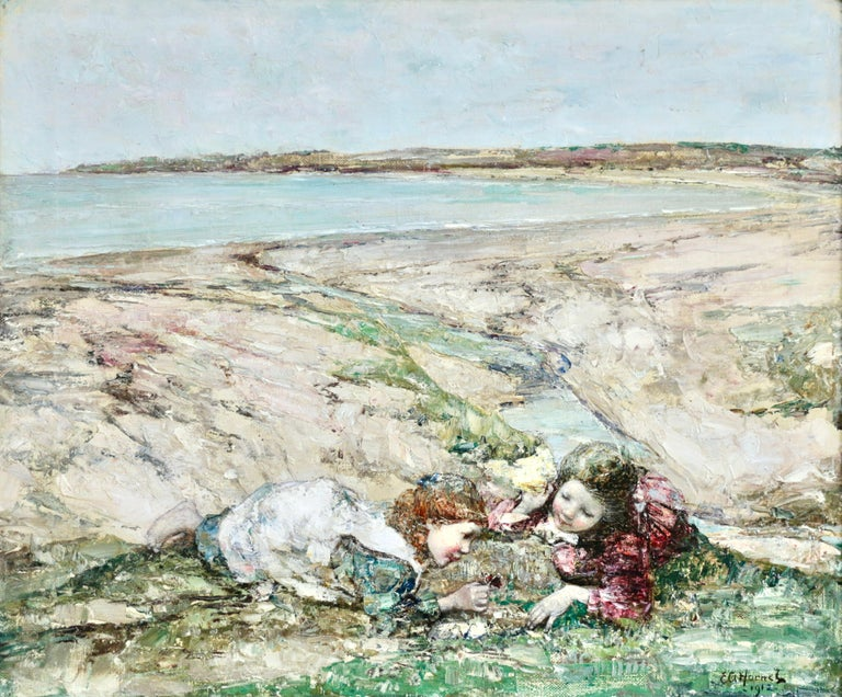 Watching the Butterflies - 19th Century Oil, Girls at Coast Landscape by Hornel - Painting by Edward Atkinson Hornel